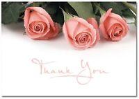 Pink Roses Rose Wedding Bridal Shower Thank You Notes 24/pk