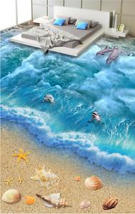 3D Beach Dolphin 5677 Floor WallPaper Murals Wallpaper Mural Print AJ AU Lemon