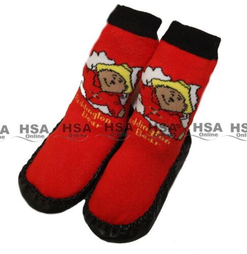 Kids Paddington Bear Slipper Socks Red or Royal Blue Soft Suede Soles 0-3 Years