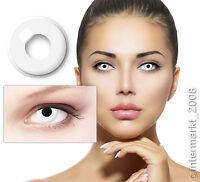 Farbige Crazy & Fun Halloween Karneval Kontaktlinsen Contact lenses - WHITE OUT