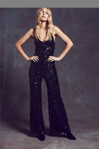 c3cb01e35abc NwoT Free People Sequin Jumpsuit In Emerald Color Size Large Sold ...