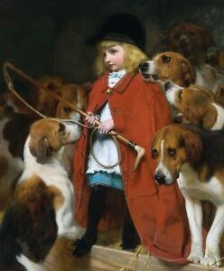 The New Whip Antique Art Print Child Fox Hounds Charles Barber