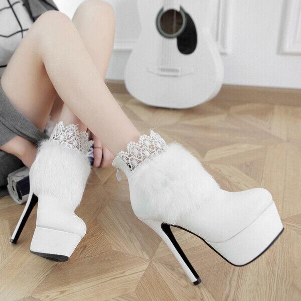 Stiefel Absatz Platform 14 cm Weiß Pelz und Leder Kunststoff 8233