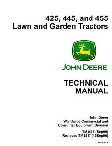 john deere 425 445 455 lawn garden tractor tm1517 technical service rh ebay ie John Deere Zero Turn Mowers john deere z425 manual pdf