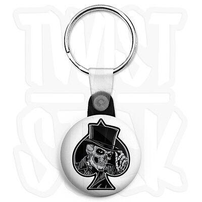Zip Pull Option Smoking Skull Ace of Spades 25mm Biker Keyring Button Badge