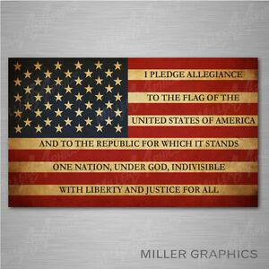 2d0d088b76 Image is loading American-Flag-Pledge-of-Allegiance-Decal-Sticker-Graphic-