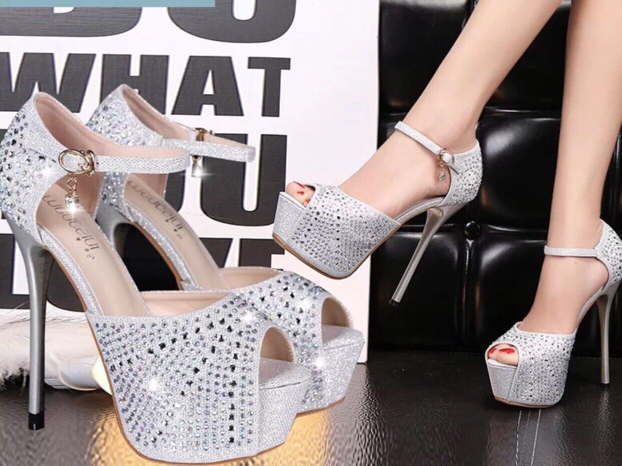 Exotic Größe Größe Größe 9 Stripper Dancer platform Sliver Crystal Heels 7 Inches 68e9fe