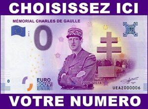 Belle Ue Az-2 / Memorial Charles De Gaulle / Billet Souvenir 0 Euro / 2018-2 Ture 100% Garantie