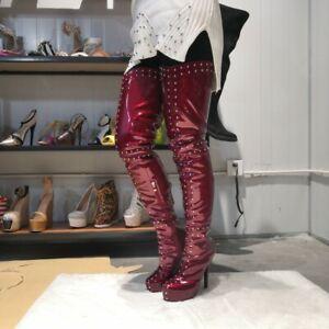 Women Over Knee Boots Studded Heels Rivet Boots Fashion Platform Shoes Plus Size Ebay