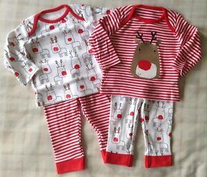 Cute Rudolf 2 x Unisex Baby Boy Girl Xmas Pyjamas PJ s Nightwear ... 2cfcc6d6ac0