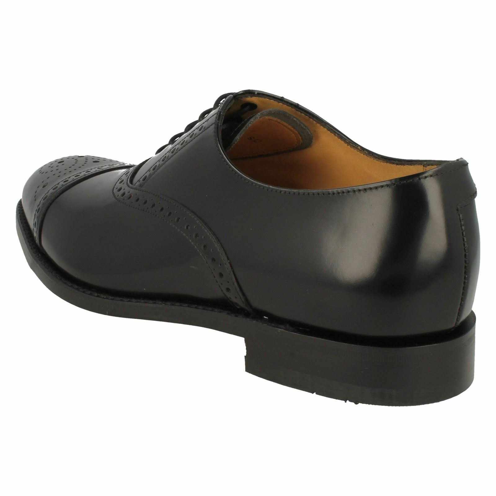 Mens Oban black leather semi brogue lace up shoe by Loake  £155.00