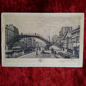 Eau-forte-originale-signee-Lucien-Gautier-Paris-Quai-de-Jemmapes-1881-bel-etat