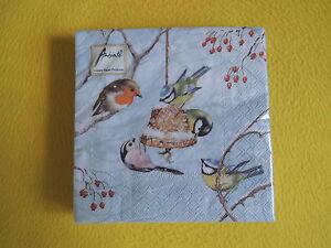 5 Servietten  Meisen Vögel Winter CHIRPING Birds Serviettentechnik Äste Schnee