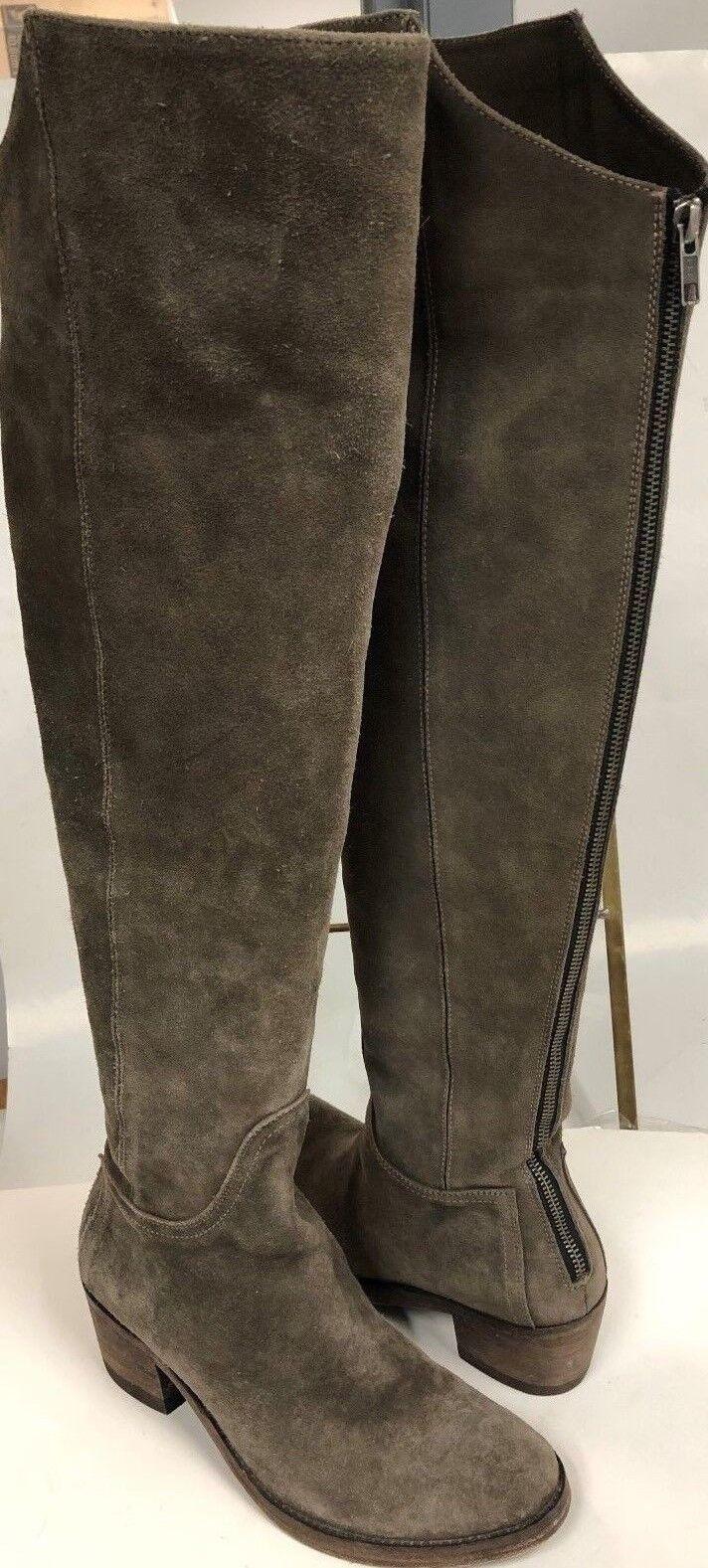 Faryl Robin Mujer gris Gamuza por encima de la rodilla alta Alto botas De Montar Taco de 2.5  Sz-8
