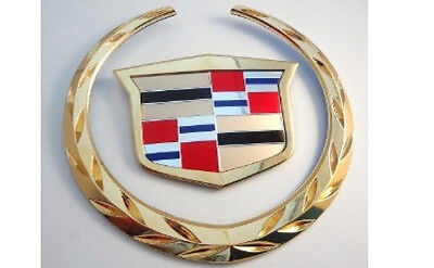 """2 BRAND NEW Cadillac  /""""WREATH /& CREST/"""" Emblems 24K GOLD PLATED"""