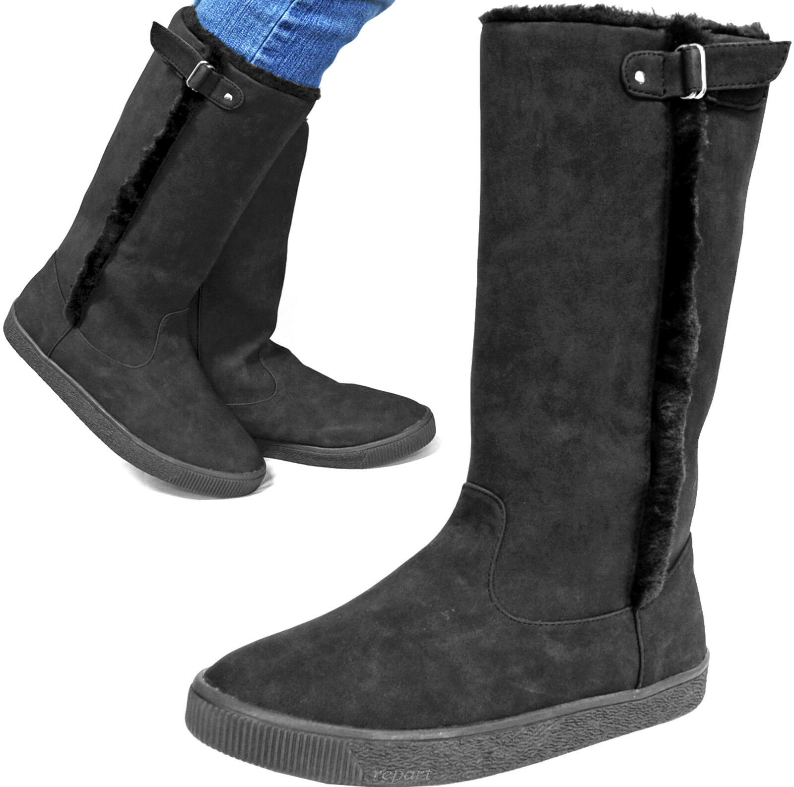 New women's shoes mid shaft boot pull up faux fur winter warm suede like black