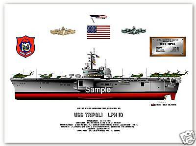 Amphibious ship print USS Tripoli LPH-10 Drawing
