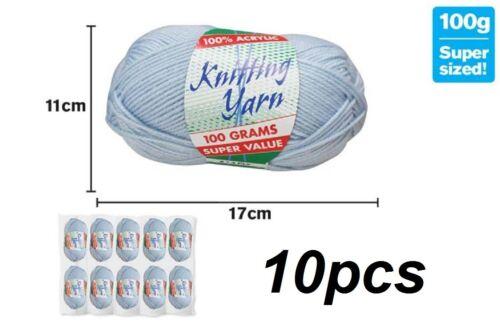 WIN-041 10 x Knitting Yarn Wool Acrylic 8 Ply 100g Baby Blue 100/% Brand New