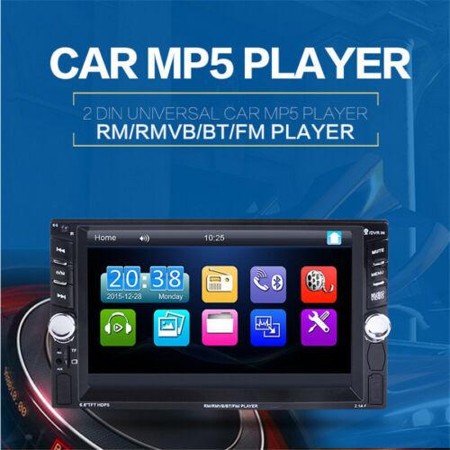 """6.6/"""" 2DIN car radio HD Player MP5 Bluetooth Digital Display W// Rear 8LED Camera"""