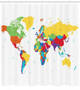 Image Is Loading World Map Shower Curtain Countries And Oceans Print