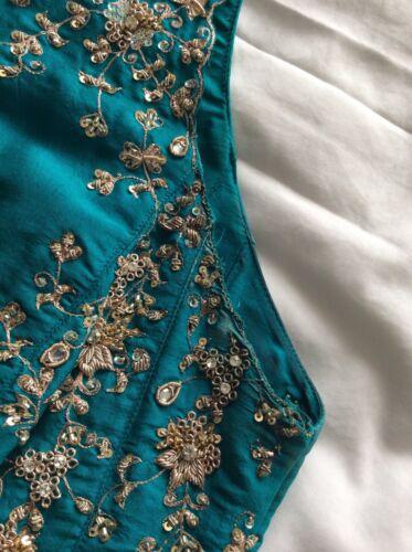 rrp 36 400 Designer tradizionale £ Vestito Teal Santoshi indiano Piccolo 7vHAAW