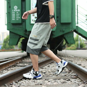 New-Japanese-Youth-Stripe-Casual-Shorts-Men-039-s-Loose-Punk-Overalls-Shorts-Plus-sz