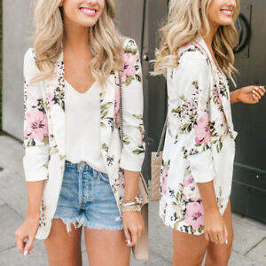 Fashion-Women-039-s-Floral-Slim-Casual-Blazer-Suit-Lady-Work-Jacket-Coat-Outerwear