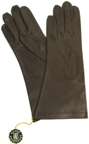 Gloves Leather Ladies Emperor Leather Finger without Lining Dark Brown Coffee 7