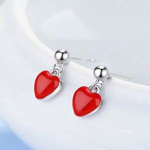 af486cafe 925 Sterling Silver Red Epoxy Heart Shape Stud Earrings For Women ...