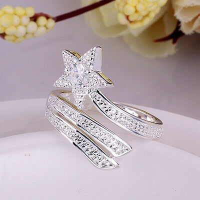 Hot New Fashion Nice Silver Retro Stars Rhinestone Crystal Ring Gift
