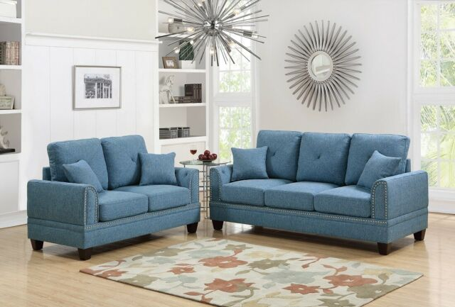 Blue Cushion Couch Living Room 2pc Set Sofa Loveseat Cotton Blended Fabric For Sale Online Ebay