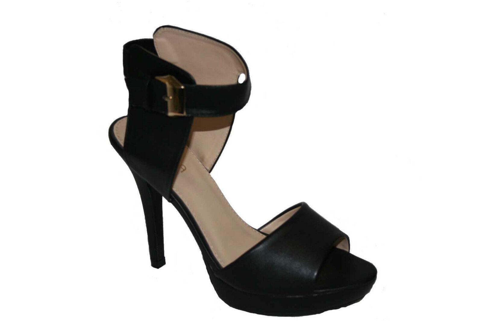 Moda jest prosta i niedroga  black leather look ankle strap stilleto  heel party wedding present gift prom