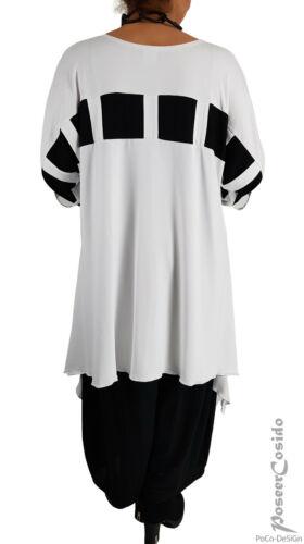 LAGENLOOK Tunika Long-Shirt schwarz weiß 44 46 48 50 52 54 56 58 L-XL-XXL-XXXL