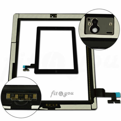 For IPAD 2 Black Replacement Touch Screen Digitizer Front Glass Home button