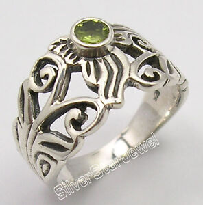 925-Solid-Silver-Authentic-GREEN-PERIDOT-HANDCRAFTED-New-Ring-Any-Size-UNISEX