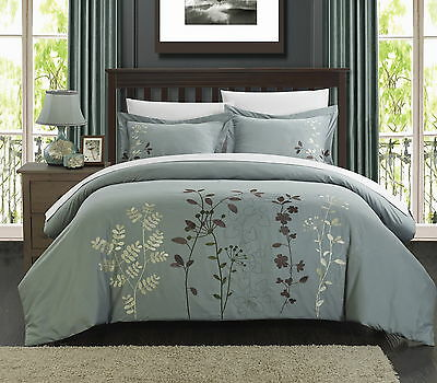 King//Queen Chic Home 3 Piece Kaylee Floral Embroidered Duvet Set Green