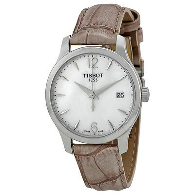 Tissot Tradition Mother of Grey Leather Ladies Watch T0632101711700