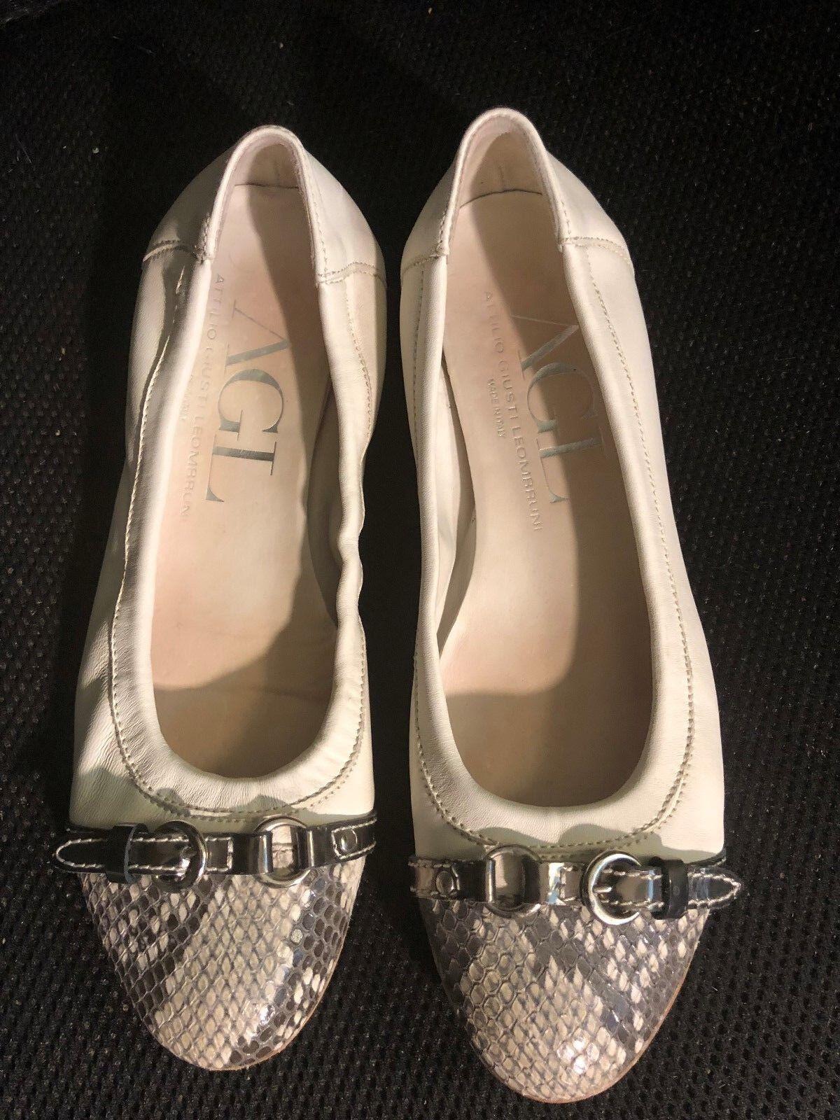 Chaussures, AG, blanc crème Ballerines gris blanc crème peau de serpent fronts 8 1 2 M
