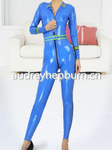 XXL Latex Rubber Catsuit Light blue Unique Bodysuit Cool Stylish Suit Size XS