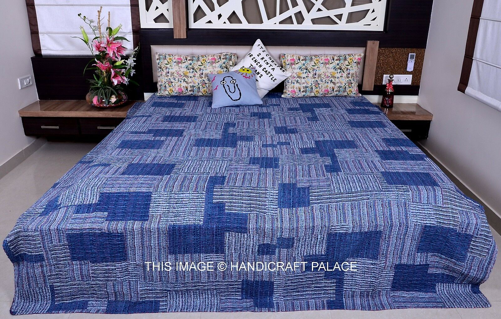 Indian Abstract Printed Kantha Quilt Queen Bedcover Blau Bedspread Blanket Throw