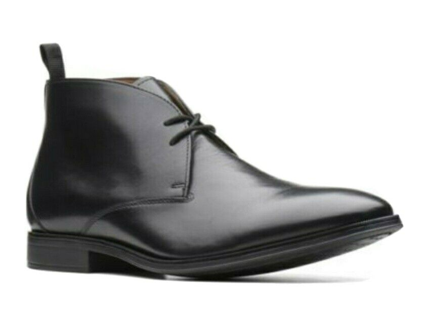 Clarks Men's * Gilman Mid * Black Leather chukka Boots Wide Fit Formal Uk 7.5H