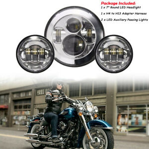 7 Led Headlight Passing Lights For Motorcycle Fatboy Heritage Softail Deluxe Ebay