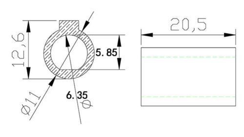 shaft installing sleeve adapter 6.35mm to 11mm for NEMA23 stepping motor NMRV30