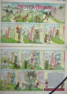 Old Antique Print Buster Brown Dog Chase Fence Foxy Grandpa Cartoon 1906 20th