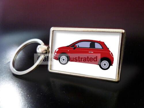 RED FIAT 500 METAL KEY RING.
