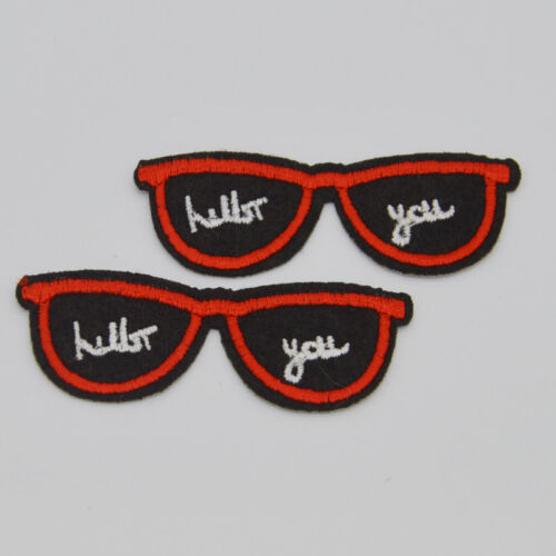 Cool sunglass glasses letter  Embroidery Iron//sew on patch applique badge Motif