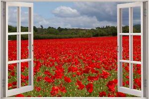 Huge-3D-Window-view-Wild-Poppy-Field-Wall-Sticker-Mural-Art-Decal-Wallpaper-1107