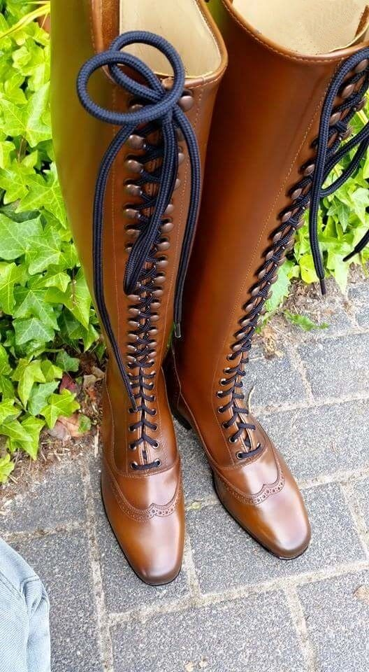 Hunter/Jumper Elegant style full Front Laces Horse Riding Dress Stiefel UK 3-12