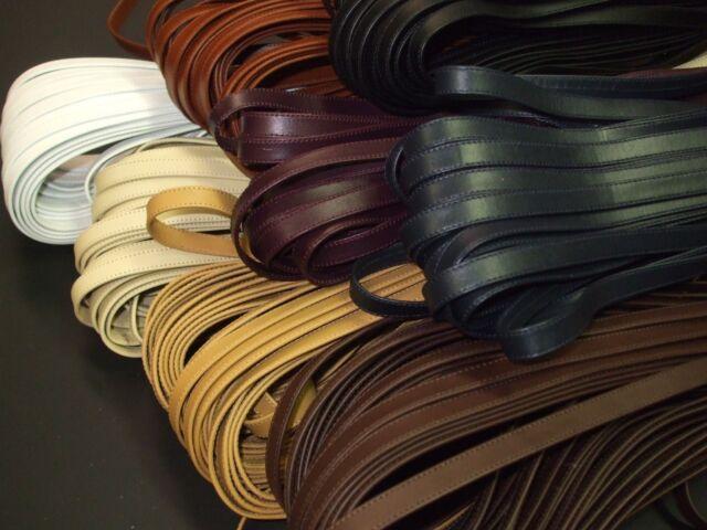 120 x 1 cm Taschenriemen Lederriemen genäht schwarz dunkelbraun beige weiß braun