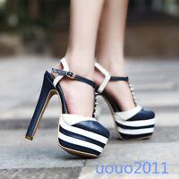 Sexy Womens Platform Block High Heel Rivet T-Strap Roma Ladies Sandals Shoes Sz